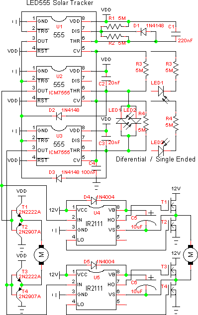 LED555 Timer Based Solar Tracker.