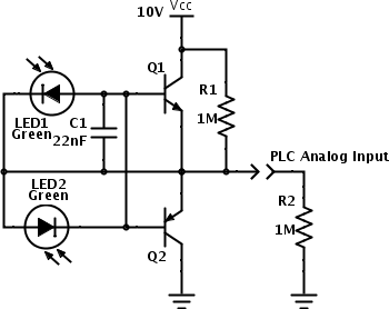 LED Analog Sensor for use with a PLC